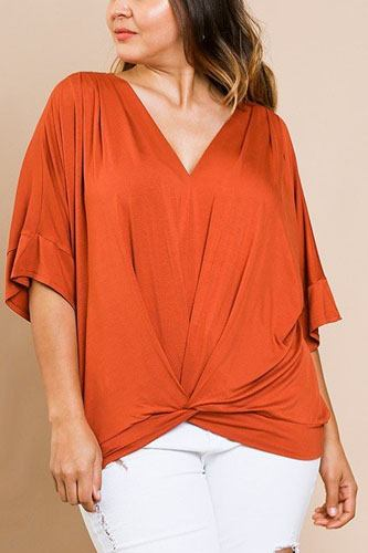 Short bell sleeve basic v-neck top-id.cc40066