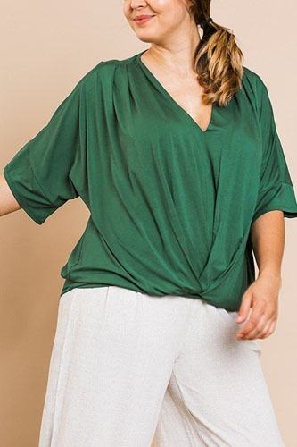 Short bell sleeve basic v-neck top-id.cc40066b