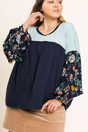Floral print puff sleeve round neck heathered top-id.cc40068