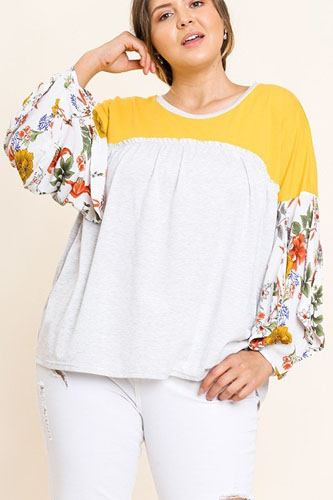 Floral print puff sleeve round neck heathered top-id.cc40068a