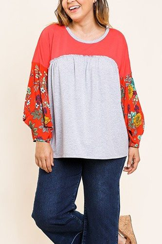 Floral print puff sleeve round neck heathered top-id.cc40068b