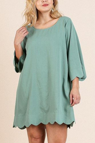 3/4 sleeve round neck dress-id.cc40070