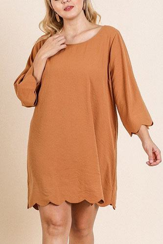 3/4 sleeve round neck dress-id.cc40070a