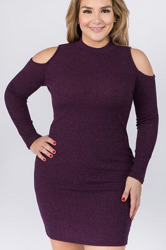 Embellished solid rib knit cold shoulder long sleeve dress-id.cc40071a