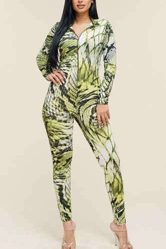 Multi color print long sleeve zipper front jumpsuit-id.cc40072