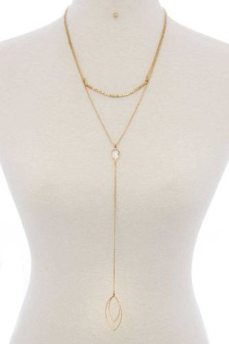 Cutout pointed oval y-shaped layered long necklace-id.cc40077