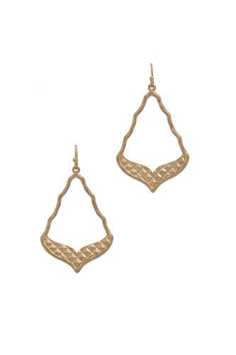 Cutout moroccan shaped metal drop earring-id.cc40081