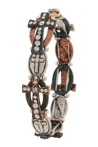 Rhinestone cross stretch bracelet-id.cc40087