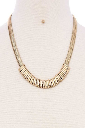 Chunky snake chain with rings short necklace-id.cc40092