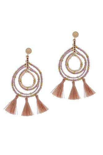Tassel beaded circle earring-id.cc40095