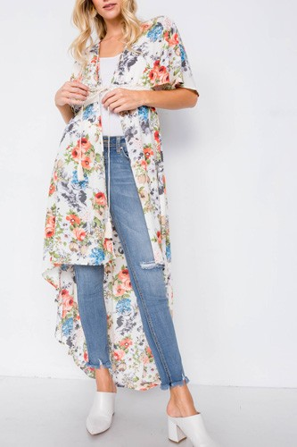 Ivory rose & blue floral print high-low kimono cover-up-id.cc40106