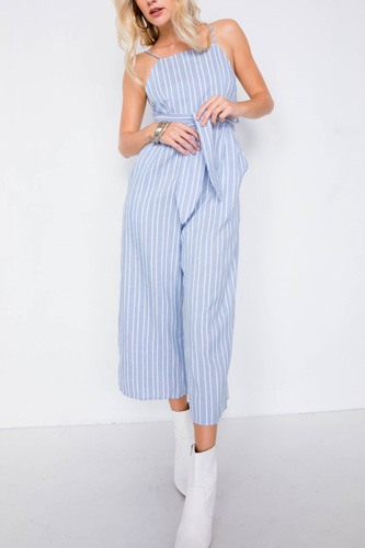 Stripe front tie waist band open back jumpsuit-id.cc40109a