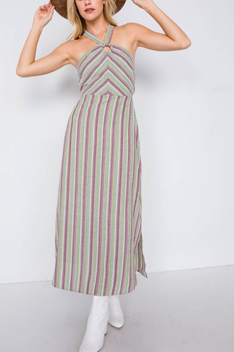 Green multi stripe wooden center cut out halter maxi dress-id.cc40113