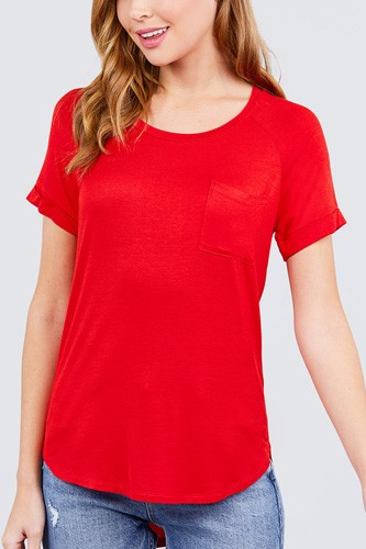 Short raglan sleeve round neck w/pocket rayon spandex top-id.cc40117e