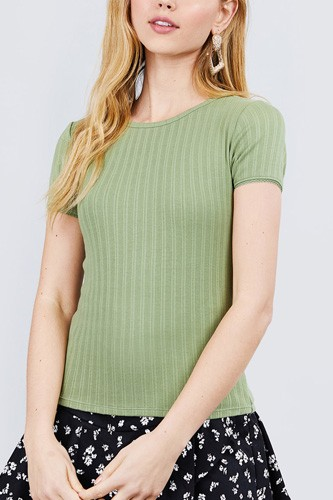 Short sleeve w/lace trim detail crew neck pointelle knit top-id.cc40120b