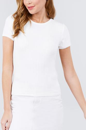 Short sleeve w/lace trim detail crew neck pointelle knit top-id.cc40120d