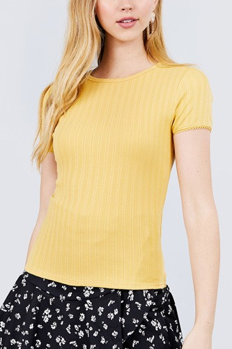 Short sleeve w/lace trim detail crew neck pointelle knit top-id.cc40120f