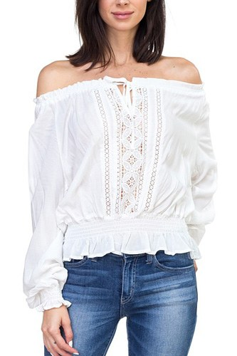 Off shoulder embroidered shirt-id.cc40122a