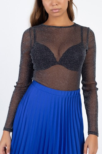 Sheer mesh metallic top-id.cc40124