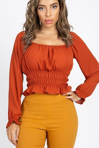Off shoulder ruffle crop top-id.cc40125e