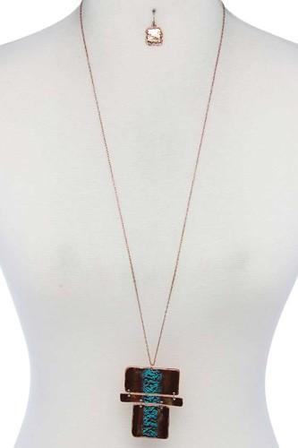 Rectangular shape pendant necklace-id.cc40128