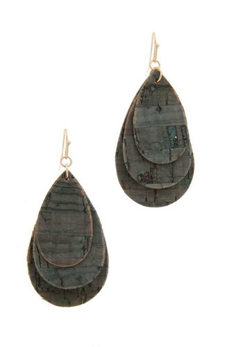 Cork teardrop shape layered drop earring-id.cc40132