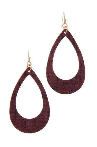 Cut out cork teardrop shape drop earring-id.cc40133