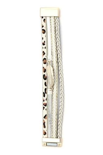 Animal print braided magnetic bracelet-id.cc40138