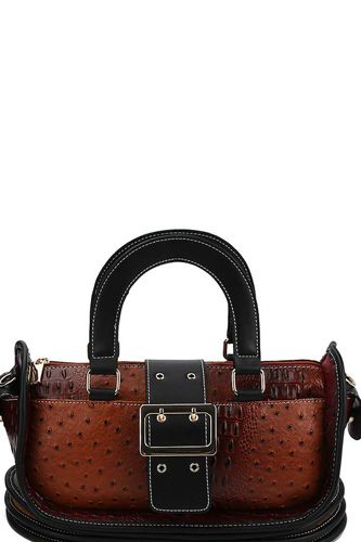 Buckle accent stylish cute satchel with long strap-id.cc40151