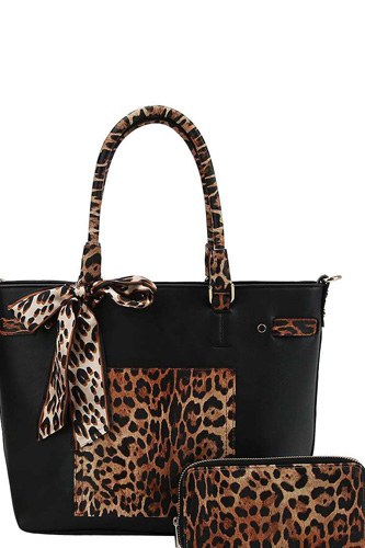 2in1 leopard two tone scarf tote bag with matching wallet-id.cc40153