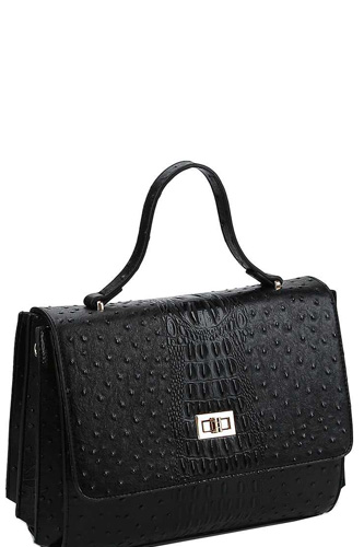 Modern fashion croco pattern satchel with long strap-id.cc40155
