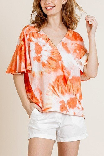 Printed ruffle bell sleeve v-neck cross body top-id.cc40161