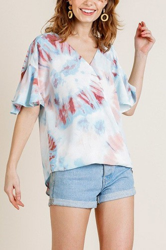 Printed ruffle bell sleeve v-neck cross body top-id.cc40161a