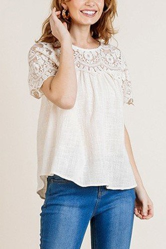Sheer floral short sleeve lace yoke keyhole top-id.cc40163a
