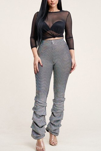 3/4 sleeve power mesh top and holographic stacked pants-id.cc40167b