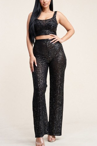 Sequence tank top and high rise wide lag pants two piece set-id.cc40169