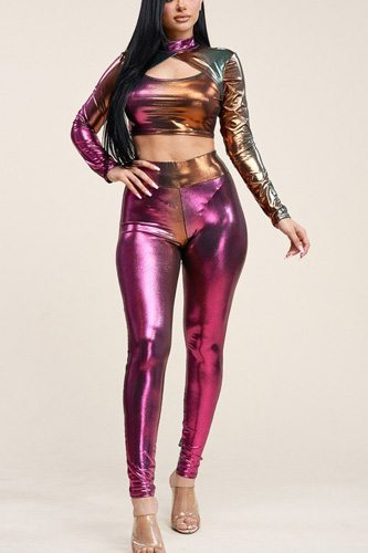 Ombre foil venecia long sleeve mock neck cropped top and leggings two piece set-id.cc40170