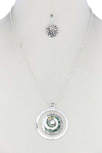 Abalone swirl metal circle pendant necklace-id.cc40173