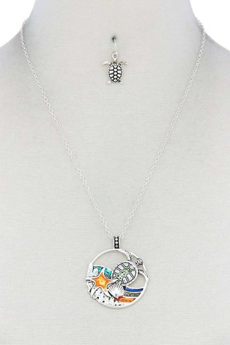 Sea turtle wave pendant necklace-id.cc40174