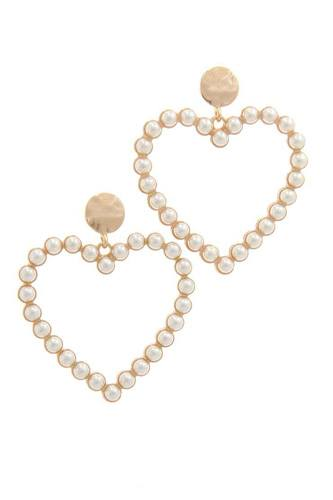 Pearl heart shape post drop earring-id.cc40177