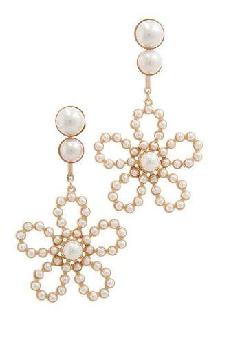 Flower shape post drop earring-id.cc40178