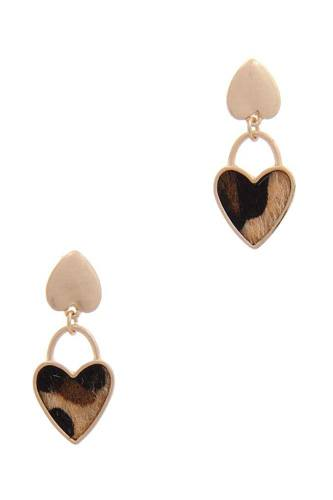 Faux fur double heart post drop earring-id.cc40180
