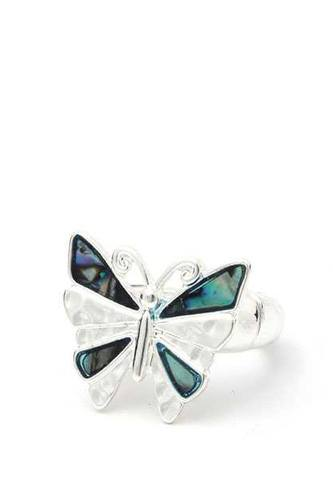 Abalone butterfly stretch ring-id.cc40188