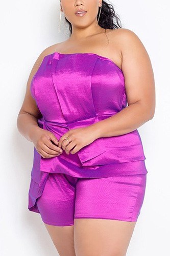 Plus size strapless plume romper-id.cc40202a