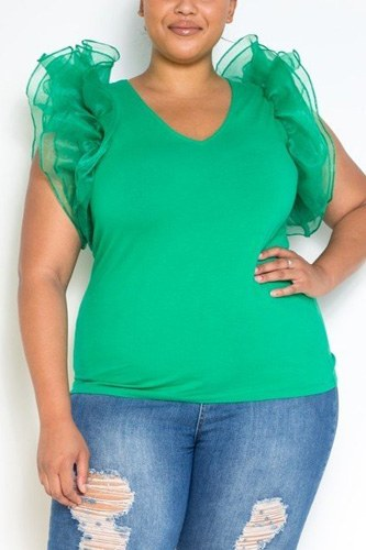 Plus size mesh ruffle shoulder top-id.cc40205