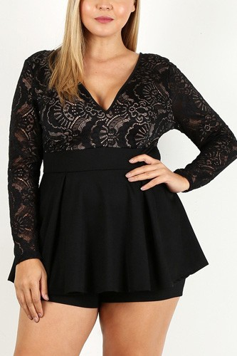 Duo fabric romper with lace detail, peplum bodice, and v-neckline-id.cc40207