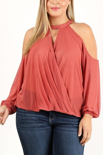 Plus size solid wrap top with a mock neckline, cutouts, and puff sleeves-id.cc40208
