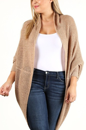 Solid loose knit, open cocoon cardigan-id.cc40209