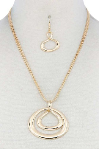 Double oval shape pendant necklace-id.cc40218