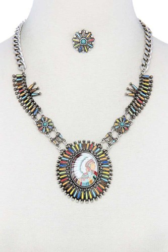 Multi color indigenous pendant necklace-id.cc40234